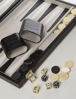 Backgammon Set - Black Croc Print Leather