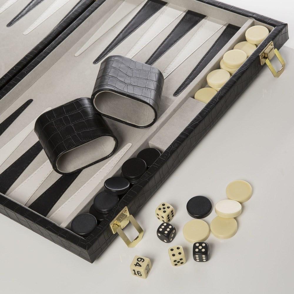 Brouk Backgammon Set - Black Croc Print Leather