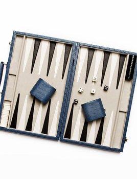 Backgammon Set - Blue Ostrich Leather