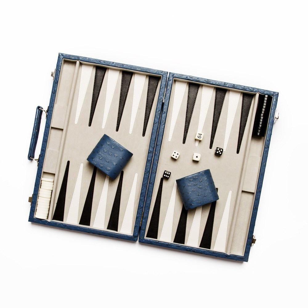 Brouk Backgammon Set - Blue Ostrich Leather