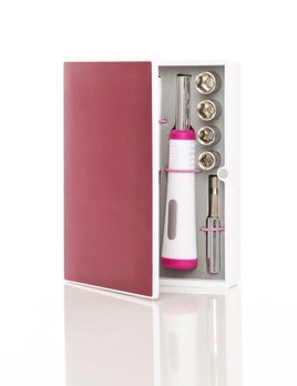 Brouk Fix It Kit - Pink Metalic Box -18 -piece travel tool kit features: long-nose pliers, an interchangeable handle with four sockets, 10 assorted screwdriver bits, a socket extension, one meter/three-foot tape measure, and a cutter.