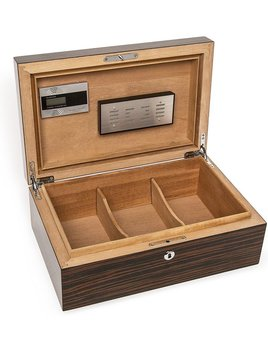 Gloss Ebony Finish Cigar Humidor - Whether you prefer Montecristo, Cuban, Thompson or other cigars, our cigar humidor controls the temperature and humidity inside the box to preserve and enhance quality and flavor. Features a Matte Ebony wood finish.