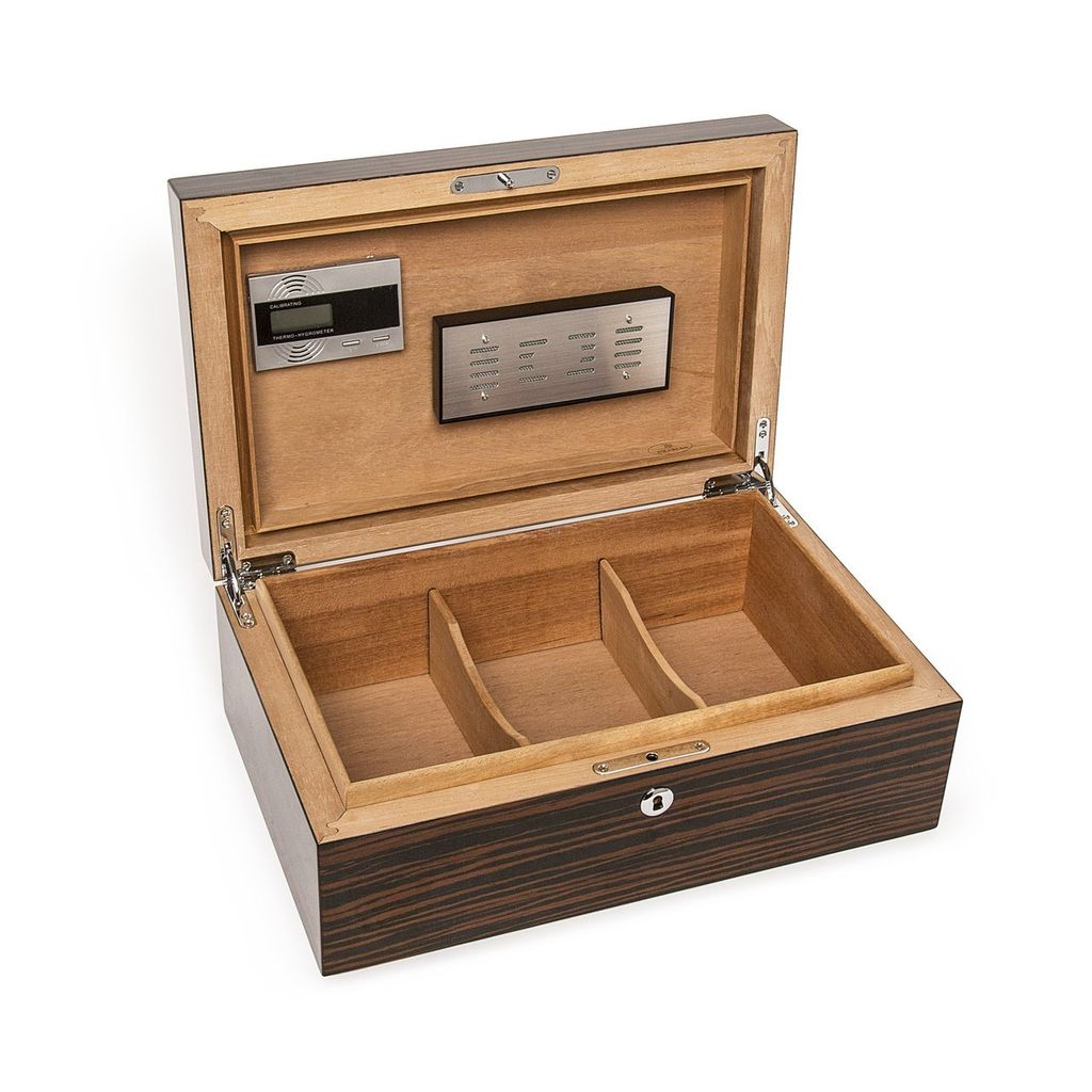 Brouk Gloss Ebony Finish Cigar Humidor - Whether you prefer Montecristo, Cuban, Thompson or other cigars, our cigar humidor controls the temperature and humidity inside the box to preserve and enhance quality and flavor. Features a Matte Ebony wood finish.