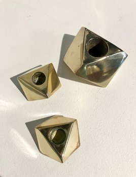 BECKER MINTY Vintage Set of Three Solid Brass Geometric Candle Holders - Canada c1970