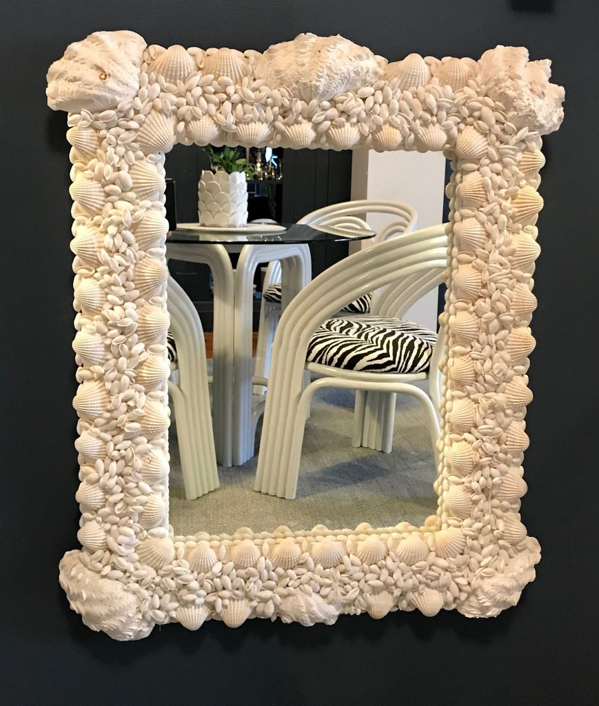 paul bruce White Rectangular Shell Mirror by Paul Bruce - 80x70cm (approx)