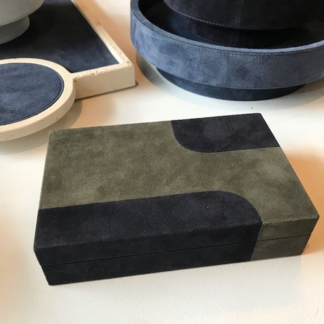 giobagnara Suede Box - Navy and Grey - Giobagnara for Becker Minty - 8.8x7cn H 11cm - Made in Italy