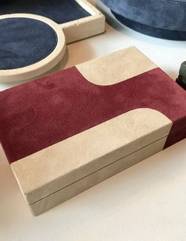 giobagnara Suede Box  - Bordeaux and Beige - Giobagnara for Becker Minty - 8.5x7cm H11cm - Made in Italy