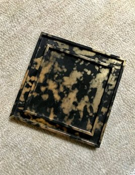 giobagnara Mini Square Arcobaleno Leather Tray - Clouds - Giobagnara for Becker Minty - 20x20cm H1.5cm - Made in Italy
