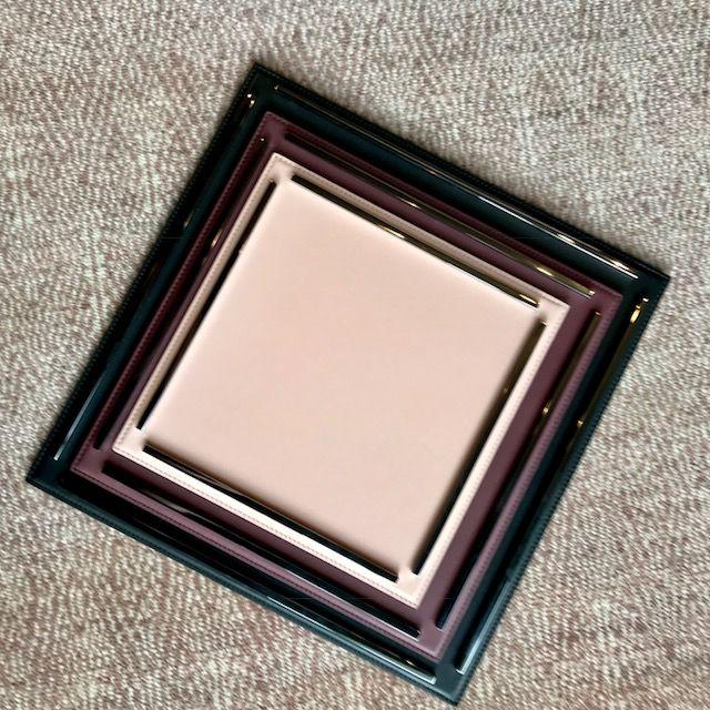 giobagnara Medium Campo Square Leather  Tray - Antique Rose - Chrome Handles - Giobagnara for Becker Minty -  30x30cm H1.5cm - Made in Italy