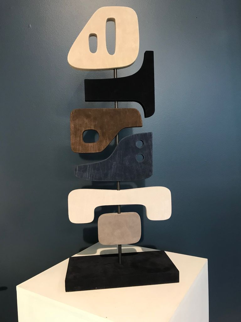giobagnara Tabou Sculpture 3 - Giobagnara for Becker Minty - Suede and Bronze - 30x15.5cm H 72cm - Made in Italy