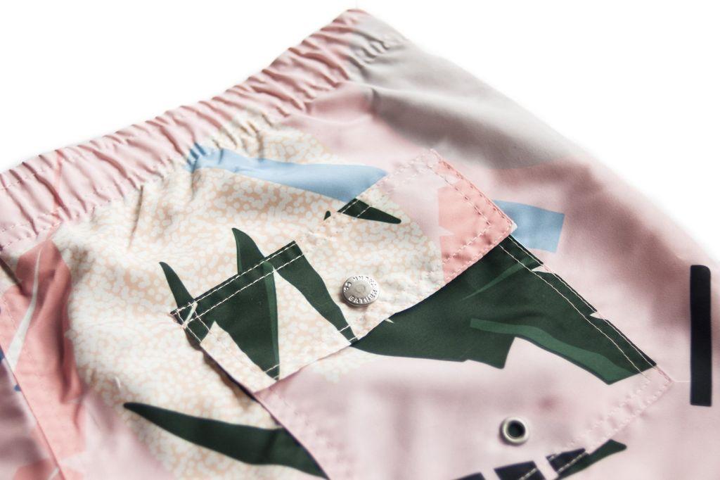 Proper Goods Bather - Pink Abstract Palms Swim Shorts