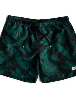 Proper Goods Bather - Black Tropical Palms Swim Shorts - Made in Canada