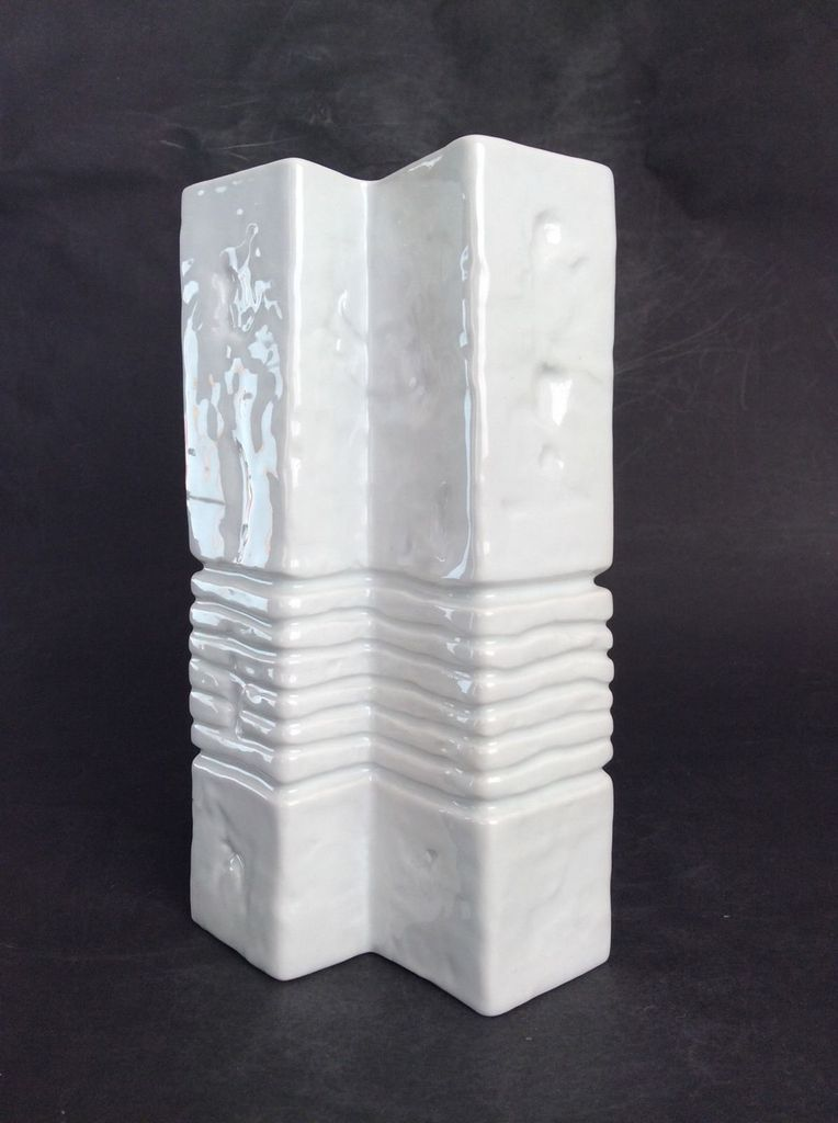 Vintage Gerold Porcelain Vase - Gloss White Geometric - H23cm - c1960 - West Germany