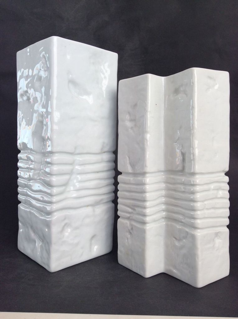 Vintage Gerold Porcelain Vase - Gloss White Geometric - H27cm - c1960 - West Germany