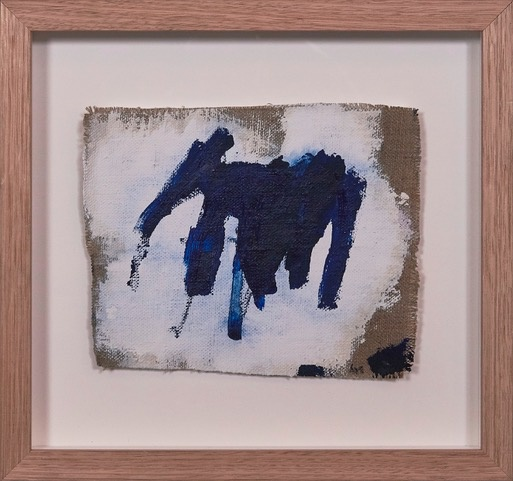 Meeting you, Meeting Me #3 2018 - Antonia Mrljak - Ink, Oil and Acrylic on Linen, Oak Framed - 31.5x29.5cm