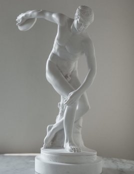 Mercer and Lewis Myron Greek Alabaster Sculpture -  - Mercer and Lewis - The Discobolus of Myron is a Greek sculpture completed towards the end of the Severe Period, figuring a youthful ancient Greek athlete throwing discus - Alabaster