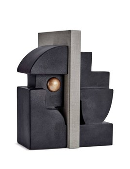 L'Objet L'Objet - Cubisme Bookend - Black/Gold - 9 L x 9 W x 23 H cm (each side)