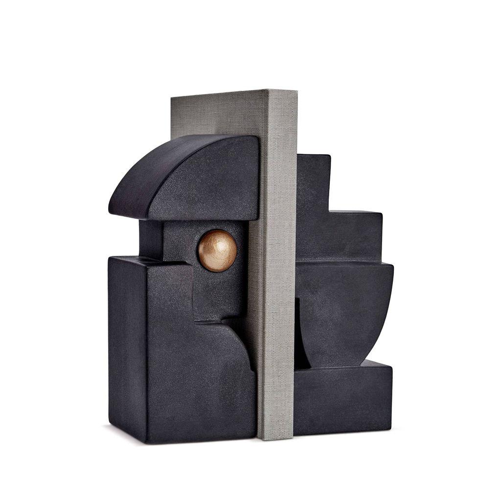L'Objet L'Objet - Cubisme Bookend - Black/Gold - 9 L x 9 W x 23 H cm (each side)