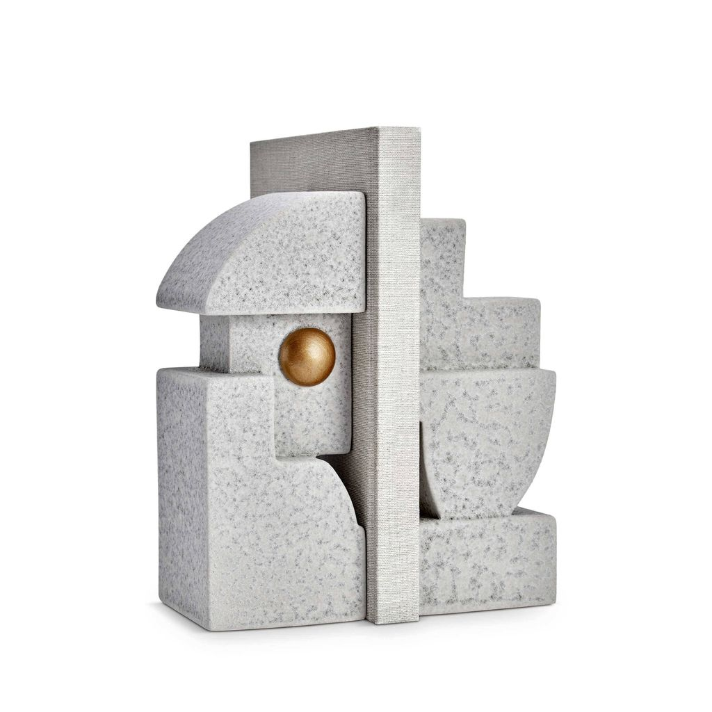 L'Objet L'Objet - Cubisme Bookend - Grey/Gold - 9 L x 9 W x 23 H cm (each side)