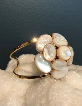 Philippe Ferrandis Philippe Ferrandis - Mother of Pearl Cuff Bracelet - Gold Plated - Made in Paris