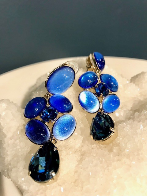 Philippe Ferrandis Philippe Ferrandis - Long Three Tier Drop Earring - Swarovski Crystal and Glass - Blue - Made in France