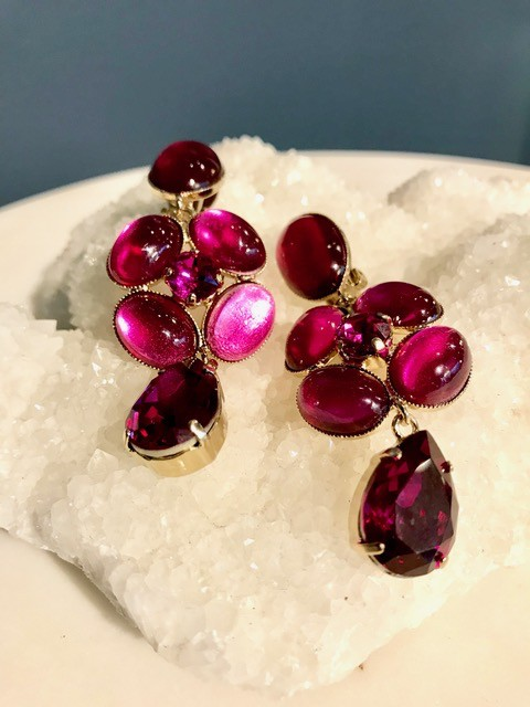 Philippe Ferrandis Philippe Ferrandis - Long Three Tier Drop Earring - Swarovski Crystal and Glass - Red - Made in France