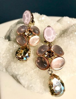 Philippe Ferrandis Philippe Ferrandis - Long Three Tier Drop Earring - Swarovski Crystal and Glass - Pink - Made in France