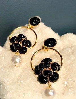 Philippe Ferrandis Philippe Ferrandis - Black Swarovski Crystal and Pearl Drop Earrings - Paris