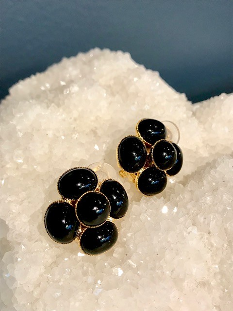 Philippe Ferrandis Philippe Ferrandis - Black Swarovski Crystal Clip Earring - Flower - Paris