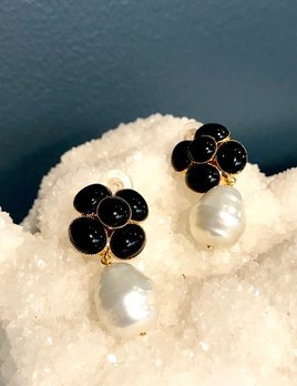 Philippe Ferrandis Philippe Ferrandis - Black Swarovski Crystal and Pearl Drop Clip Earring - Made in France