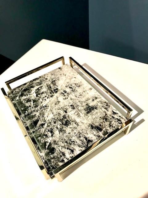 Giuliano Tincani Black Quartz and Nickel-plated Brass Tray - 21.5x16.5cm - Made in Italy
