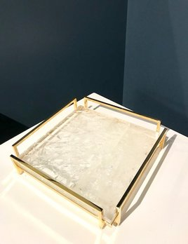Giuliano Tincani Hyaline Quartz and Gold-plated Brass Tray - 24x24cm - Made in Italy