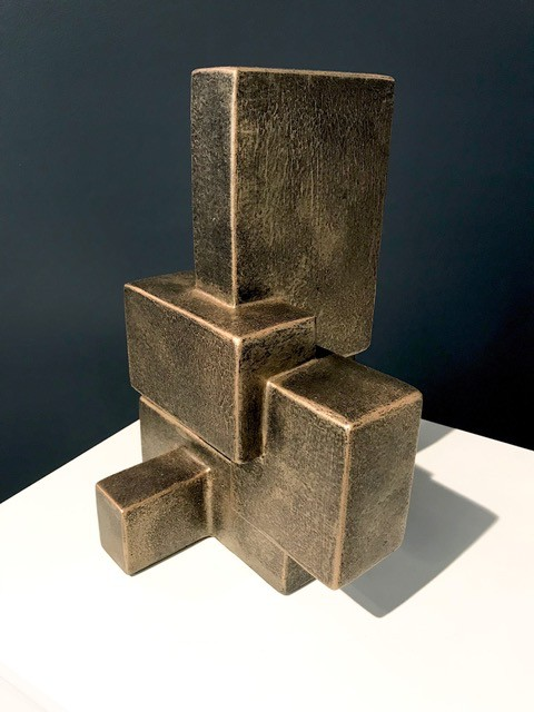 Dan Schneiger Geometric Free Standing Sculpture - Dan Schneiger - Resin Coated New and Recylced Wood Materials - Black/Gold Finish - H30cm approx