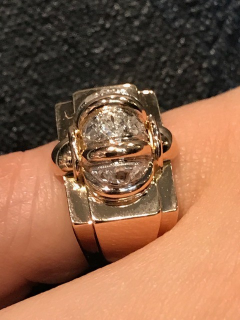 Vintage 18ct Rose and White Gold Retro Dress Ring - 1 Old Round Cut Diamond (.08ct) and 8 Rose Cut Diamonds (Total=.09ct G-H/VS-SI) c1940