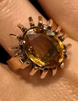 Vintage 9ct Yellow Gold and Citrine Dress Ring - Four Claw Set, Oval Mixed Cut Citrine (3.55ct) - Total Weight 6.5g - c1955