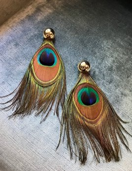 Daniel Espinosa Daniel Espinosa - Purple Rain Peacock Feather Earrings - 22ct Gold Plated