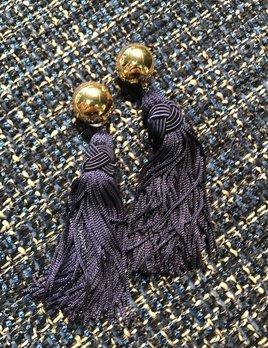 Daniel Espinosa Daniel Espinosa - Cerezo Tassle Earrings - Navy - 22ct Gold Plated