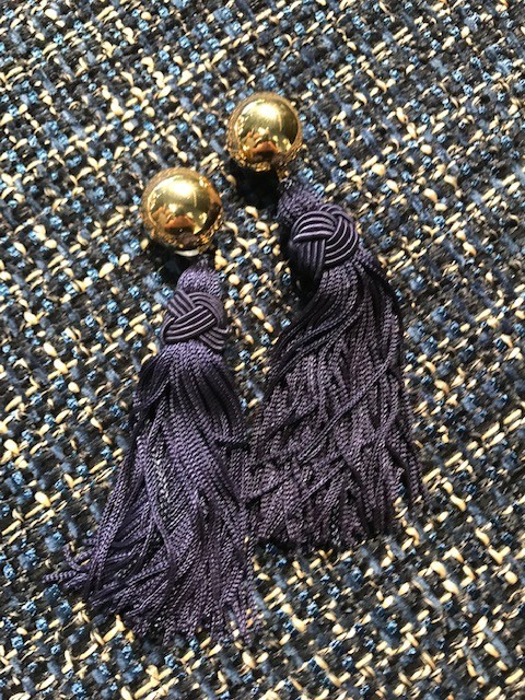 Daniel Espinosa Daniel Espinosa - Cerezo Tassle Earrings - Navy - 22ct Gold Plated