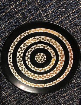 Waylande Gregory Waylande Gregory Studio - Ceramic Medium Dots & Circle Bowl - Blk/Gold - D22cm