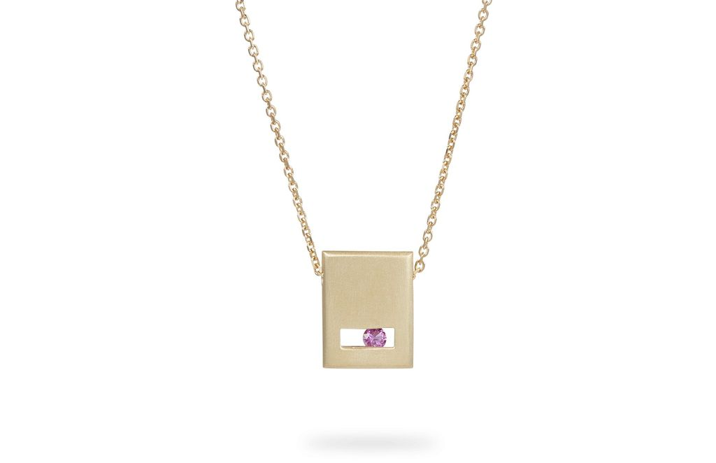Luke Rose - Slate Necklace Brush Finish - 9ct Yellow Gold - Available in Black, White, Pink, Blue, Yellow Sapphire, Tsavorite Garnet and Amethyst