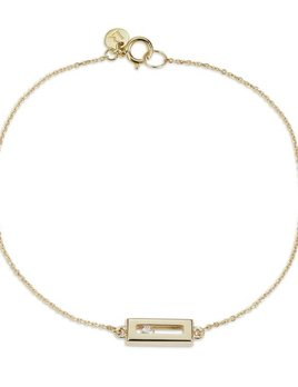 Luke Rose - Sliding Rock Bracelet Brush Finish - 9ct Yellow Gold - Available in Black, White, Pink, Blue, Yellow Sapphire, Tsavorite Garnet and Amethyst