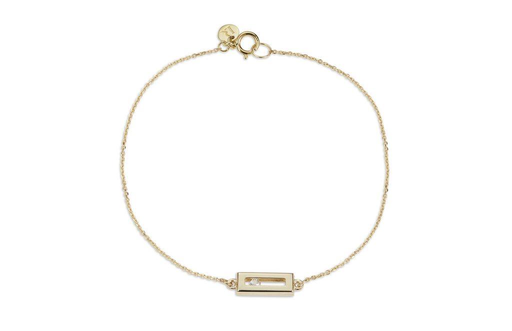 Luke Rose - Sliding Rock Bracelet Brush Finish - 9ct Yellow Gold - Available in Black, White, Pink, Blue, Yellow Sapphire, Tsavorite Garnet and Amethyst