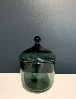 Vintage Green Glass Trinket Box or Jar by Hadeland Glass - Norway