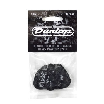 Dunlop Dunlop Celluloid Classic Black Pearl Picks Thin — 12 Pack