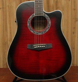 Ibanez Performance Dreadnought Acoustic Electric Guitar - Transparent Red Sunburst