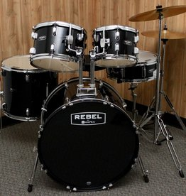Mapex Rebel 5 piece Drum Set in Black w/ Hardware & Cymbals