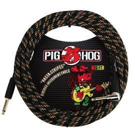 """Pig Hog """"Rasta Stripes"""" 20 ft Right Angle Guitar Cable"""