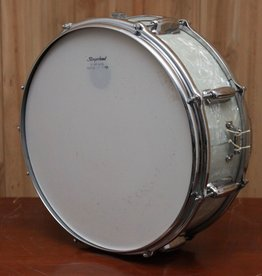 Vintage Slingerland mid-60s Snare Drum in White Marine Pearl, with original case and stand
