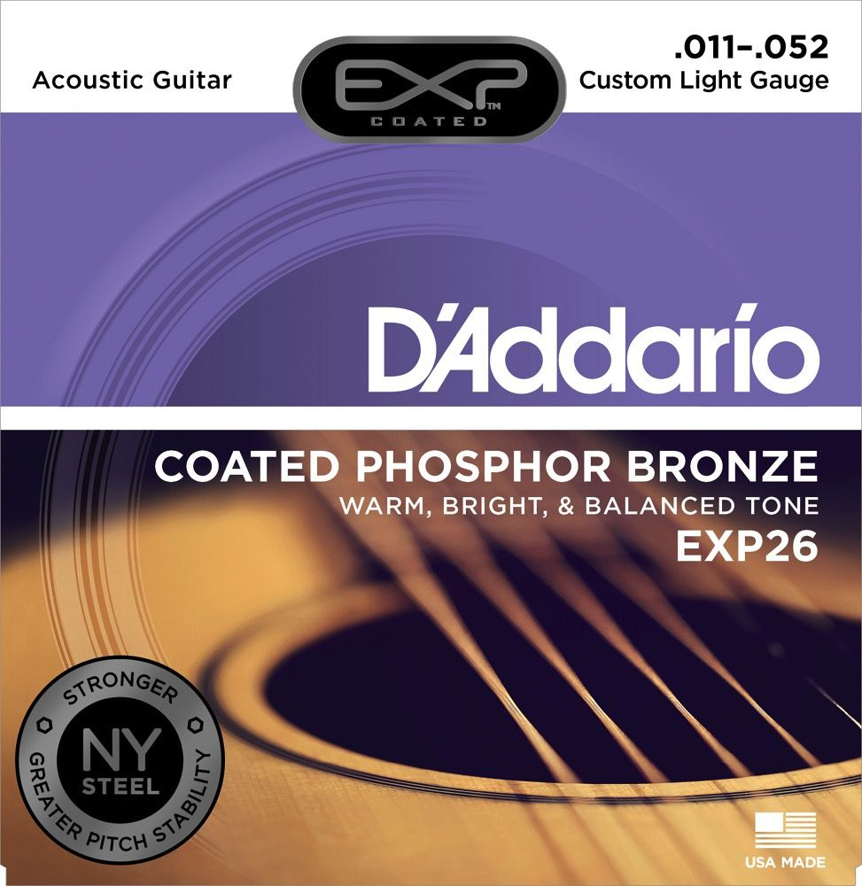 D'Addario D'Addario EXP Coated Phosphor Bronze Acoustic Guitar Strings 11-52