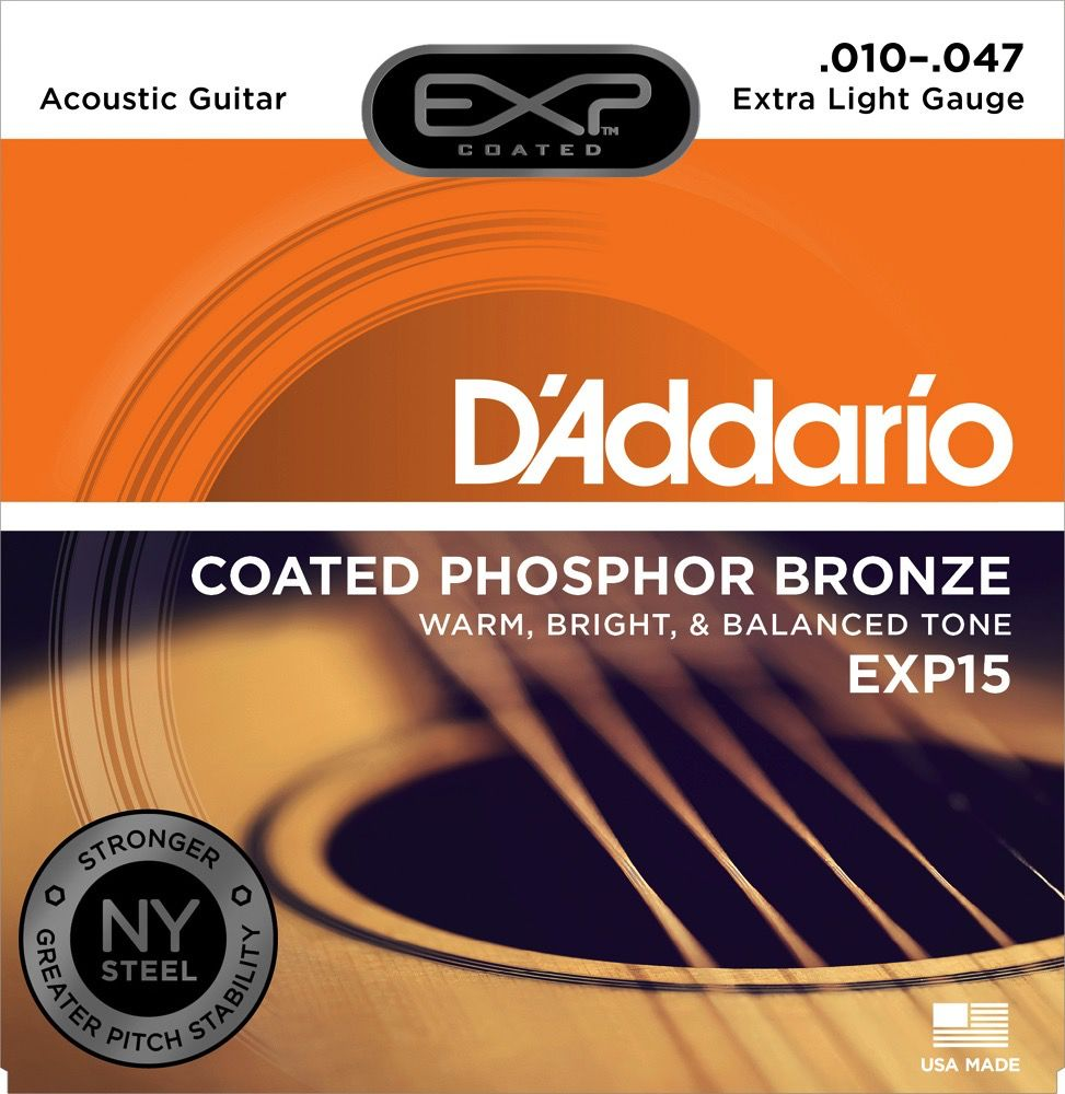 D'Addario D'Addario EXP Coated Phosphor Bronze Acoustic Guitar Strings 10-47